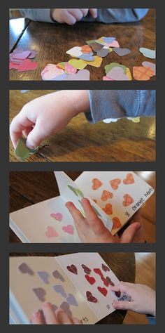 Cute Valentine's Day activity or gift idea! Practice counting, sorting, and colors while making a book of hearts.
