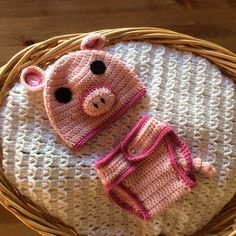 A personal favorite from my Etsy shop https://www.etsy.com/listing/229866539/crochet-pig-hat-beanie-and-diaper-cover