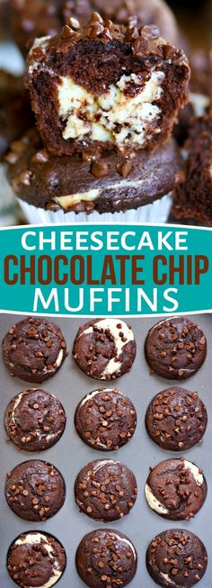 Breakfast has never been this decadent or delicious! Treat your family to Cheesecake Chocolate Chip Muffins this weekend and make breakfast an event they won't soon forget. Decadent chocolate chip muffins stuffed with a creamy cheesecake filling are a chocolate lover's dream come true! // Mom On Timeout #sponsored #WalmartWOW #breakfast #brunch #chocolate #muffin #recipe #recipes #dessert #momontimeout #desserts #cheesecake #chocolatechip