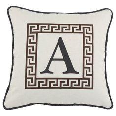 D'Kei Color Alphabet Graphics Pillow Brown - P17-LTRH-GK-109