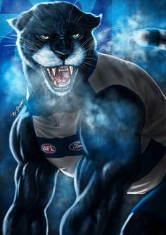 'The Mighty Cat of Geelong' Print By Grange Wallis Australian Football League, Star Fox, Cat Character, Cat Posters, Lion Art, Great Team, Wallis, Football Team, Cartoon