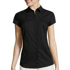 Short-Sleeve Button-Front Oxford Shirt