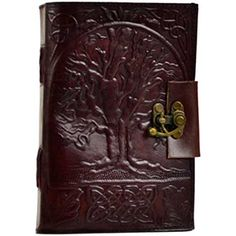Hand tooled blank leather journal with an embossed Tree of Life on both covers. Border embossing may vary. Sizes vary slightly. Leather, handmade paper. 220 pag