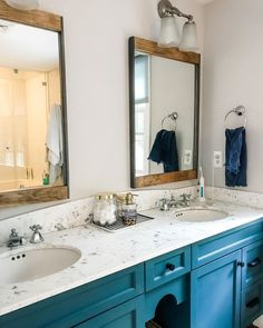 A little pop of color goes a long way! A striking coat of blue paint paired with our Flat Black hardware creates the perfect focal point in in this master bath. Double Vanity, Master Bath, Color Pop, Bathrooms, Hardware, Paint, Flat, Mirror, Furniture