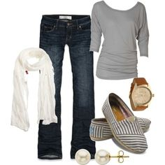 Looks really comfy...  Love the striped shoes and the solid sweater.