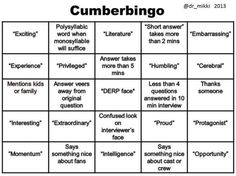 Watching Cumberbatch interviews on repeat? Print and complete your very own Cumberbingo card! (posted with permission, created by @dr_mikki on Twitter)  HYSTERICAL! And TRUE.