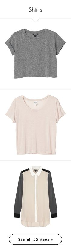 """""""Shirts"""" by amd2898 ❤ liked on Polyvore featuring tops, t-shirts, shirts, crop tops, grey cloud melange, gray shirt, grey crop top, cut loose shirt, loose t shirt and t shirts"""