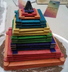 Popsicle stick Aztec/Mayan pyramid activity