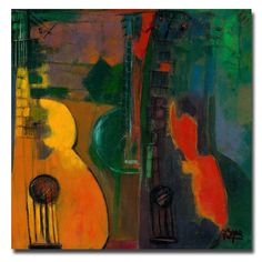 Boyer 'Guitars' Canvas Art - Overstock™ Shopping - Top Rated Trademark Fine Art Canvas