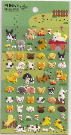 Kawaii Korean Super Cute Dog Puffy Stickers - Perfect for scrapbooking, card-making, dairy, journaling, etc.. $2.85, via Etsy.