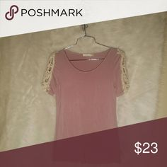 NWOT dusty rose color top Never worn, NWOT, dusty rose color top with crochet detail, super soft 95% rayon 5% spandex Tops Tees - Short Sleeve