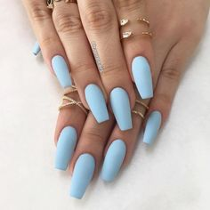 It's important to maintain the fashion and popularity of nails. In order to achieve your style in this spring, there is no better choice than coffin nails. Coffin nails can be short or long. Long coffin nails are bold and fashionable. The coffin nai Acrylic Nails Light Blue, Blue Matte Nails, Baby Blue Nails, Coffin Nails Matte, Coffin Shape Nails, Gel Nails, Nails Shape, Nail Polish, Matte Nail Colors