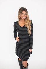 Ribbed Knit Stripe V Tunic- Charcoal - Final Sale