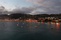 Boats glisten in the harbor at Charlotte Amalie.