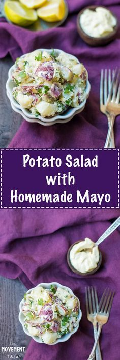 This Potato Salad AND homemade mayonnaise can be enjoyed all year long. This takes almost no time to made, and the fresh herbs really bring it over the top! TheMovementMenu.com