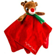 """Give your tiniest elf a sweet and snuggly surprise this holiday season with our Plush Rudolph Blankie Toy. This soft bright red baby blanket features a stuffed reindeer head in the center, perfect for babies to grab, hold and explore. """"My First Christmas"""" embroidered on the corner makes this soft, soothing infant toy an instant keepsake!"""