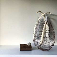 concepts, forms, materials, techniques, and processes related to basketry Textile Sculpture, Modern Sculpture, Organic Sculpture, Willow Weaving, Basket Weaving, Wire Basket, Found Object Art, Art Object, Contemporary Baskets