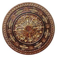 Fine Art Deco 37-1/2 in. Arabic Caprice II, Bronze, Gold and Copper, Polyurethane Hand Painted Ceiling Medallion
