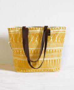 screen printed tote bag - Mustard Market Weave on Etsy, $68.00