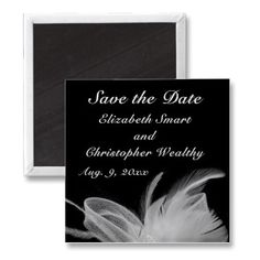 White Feather Save The Date Magnet zazzle_magnet