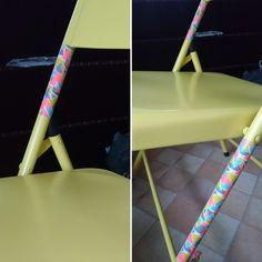 Washi tape on chair.  Re-décorer à l'infini