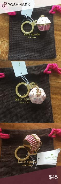 🎱 Kate Spade - Authentic Cupcake Key Fob w/ Bag Authentic Kate Spade - Sugar Rush Cupcake key fob from the 2016 fall collection. Super cute for anyone!  Dust cover/bag included. Smoke free home. Check out my bundle discount! kate spade Bags