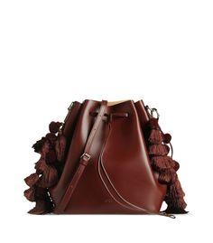 753907dbe192 ShopBazaar N° 21 Maroon Leather Tassel Bag MAIN Brown Bags