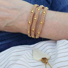 Gold Scalloped Miyuki Glass Sead Beads on Natural Leather Wrap Bracelet