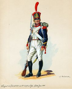 FRANCE - Line Infantry, Grenadier Sergeant, Grande Tenue, H. Note the non regulation buttons on collar. Waterloo 1815, Battle Of Waterloo, First French Empire, French Army, Napoleonic Wars, Military Art, Figure Painting, Art History, Reggio