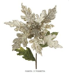 "23"" Platinum Poinsettia Spray This is the most amazing poinsettia & at 11 inches, they're huge - they really stand out on your tree!       Platinum with silver glitter accents    Green leaves    Made of Polyester, but have the look and feel of velvet    Stem is wrapped with brown tape    Measures 11"" with 23"" Stem"