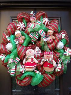 Gingerbread Men Wreath Christmas Mesh Wreath by LuxeWreaths, $199.00