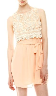 Pretty Peach Dress with Lace Overlay