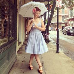 Diva Gwen shows just how perfect the Apple Tart Dress in Blue and White Seersucker is for summer! #trashydivaseersucker #trashydivaappletartdress