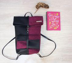 Zaino, Backpack, Zaino Roll top, Zaino con pocket rimovibile, Backpack Roll top : Zainetti, cartelle di calliphorayarn