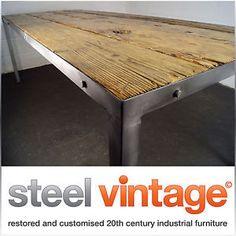 Large industrial dining table reclaimed wood polished steel metal rustic vintage