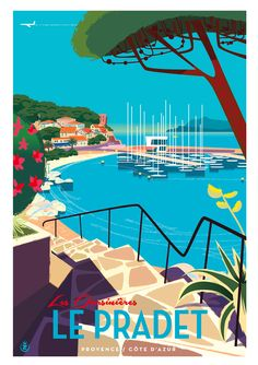 illustration by Monsieur Z Art Deco Posters, Cool Posters, Tourism Poster, Travel Ads, Travel Illustration, French Riviera, Vintage Travel Posters, French Vintage, Illustrations Posters