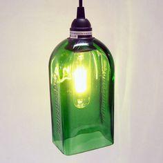 Pendant Light repurposed from 1L JÄGERMEISTER® Bottle  http://store.bottlehood.com/pendant-light-repurposed-from-1l-jagermeister-bottle/