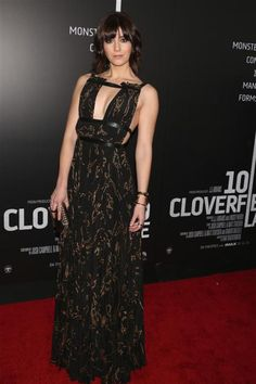 """We loved this patterned, pleated black Valentino dress that Mary Elizabeth Winstead wore to the """"10 Cloverfield Lane"""" film premiere afterparty in New York City on March 8, 2016.  Celebrity Fashion Hits and Misses for March 2016"""