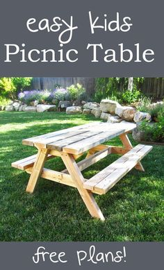 Easy to make kids picnic table for about $20 and will last forever! #plans #diy