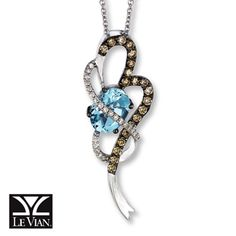Le Vian® 14K Gold Diamond & Sea Blue Aquamarine™ Necklace