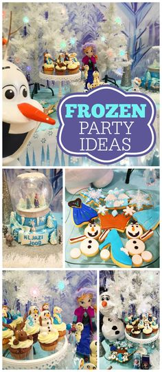 A Frozen girl birthday party with Olaf, Elsa and Anna and amazing decorations! See more party planning ideas at CatchMyParty.com!