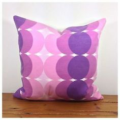 "60/70s Vintage Retro Purple Cushion Cover, Organic Fabric, 18"" x 18"" New"