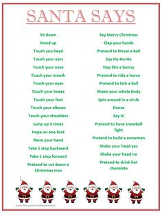 free printable santa says game simon says with a christmas spin perfect for school holiday classroom parties - Christmas Party Games For Large Groups