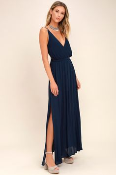 be1e193643 Lulus | Lost in Paradise Navy Blue Maxi Dress | Size X-Small | 100%  Polyester