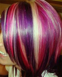 fuchsia, purple, pale blonde hair I think I'm gonna get this done. I love the look. I dnt know if I like the short hair. So idk if it will look right with long hair Love Hair, Great Hair, Gorgeous Hair, Beautiful, Awesome Hair, Pale Blonde Hair, Purple Hair, Red Purple, Red Blonde