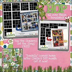 Check out these great new templates from Chelle's Creations. Mix and match, rotate, flip and slide! These are going to make your vacation pictures jump into an album! On sale this week plus, get the {long} set free when you buy the square.