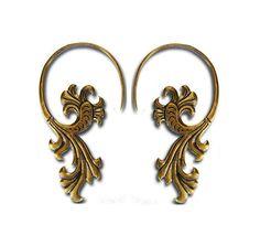 Messing hoop Earrings hoop earrings, Tribal messing oorbellen, tribal koperen sieraden, tribal messing oorbellen, zigeuner oorbellen.