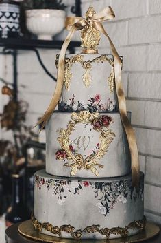 37 Eye-Catching Unique Wedding Cakes - Embroidery wedding cake - My site Unique Wedding Cakes, Beautiful Wedding Cakes, Wedding Cake Designs, Wedding Cake Toppers, Beautiful Cakes, Unique Weddings, Amazing Cakes, Dream Wedding, Beauty And The Beast Wedding Cake