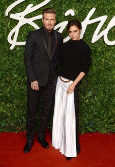 Les looks des Brit Fashion Awards 2014: Victoria Beckham en Victoria Beckham et David Beckham. © Abaca