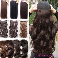 cheap price clip in hair extensions 1pcs 5clips long straight curly real thick in Clothes, Shoes & Accessories, Women's Accessories, Wigs, Extensions & Supplies   eBay